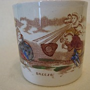 """Children's Pottery Staffordshire  Mug -  Children Playing in the """"Breeze"""""""