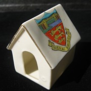 Shelley Porcelain Dog House or Kennel - Crested Ware souvenir of Menai Bridge, Wales