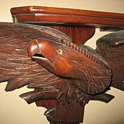 SOLD Large Wood Carved Eagle Shelf  c.1890