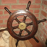 SOLD An Original Wood and Brass Ship's Wheel