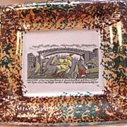 Antique Albion Pottery Plaque with View of Cast Iron Bridge, Sunderland