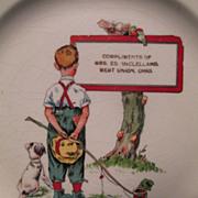 Child's Plate - West Union, Ohio - Fishing Theme c.1915