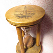SOLD Mauchline Ware Egg timer / Hour Glass with Bunker Hill Monument