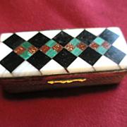 Victorian Agate Box with Multi-colored Agates / Snuff Box