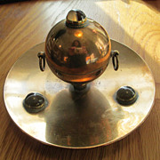 Victorian Brass and Banded Agate Inkwell