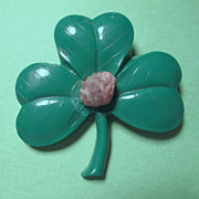 SALE Shamrock Pin with Blarney Stone - 1950's Hard Plastic