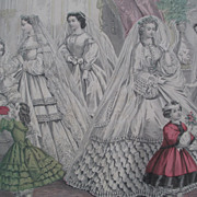 Godey's Fashions for December 1862 - Brides - Civil War Era Print