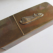 Crystal Palace (Great Exhibition of 1851) Souvenir Brass Box - Pipe holder / Tobacco box / Mat