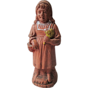 REDUCED German Figural Red Clay Whistle - Little Red Riding Hood