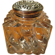 Beautiful Glass / Sterling Top Inkwell - c.1900