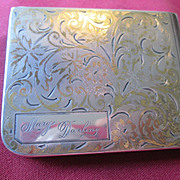 """Sterling Compact inscribed """"Marg Darling"""" -  Elgin American 1950's"""