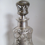 "Gorham Silver Overlay Antique Perfume Bottle - 6 1/2 "" High"