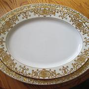 """Two Large Noritake China Christmas Ball Pattern Platters - 16 3/4"""" and 13 3/4"""" Long"""