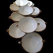 Ten Noritake Christmas Ball China Soup Bowls with Handles - Pattern 175 / 16034 - Green Back .