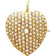 SOLD Antique Victorian 14k Yellow Gold Heart Pendant Pin Brooch Cultured Seed Pearls