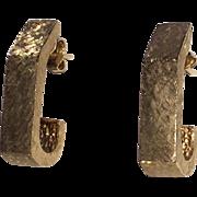 Estate Vintage 14K Gold Earrings Half Hoops
