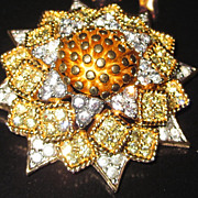 SALE PENDING Joseph Mazer Jomaz Sunflower Set Brooch and Earrings Sunday Best!