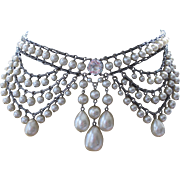 SALE PENDING Fabulous Rousselet Faux Pearls Festoon Choker Necklace