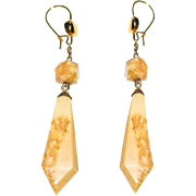 REDUCED Antique Victorian Marble Earrings Drops