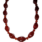 REDUCED Vintage Large Amber Beads Necklace