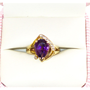 Estate 14K 585 Gold Amethyst Ring