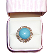 SALE Massive Vintage Gold and Turquoise Pearl Ring