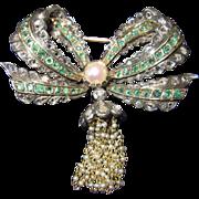 REDUCED Antique Diamond Emerald Bow Brooch Circa 1800s