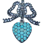 REDUCED Antique Georgian Turquoise Heart Locket Charm Pendant