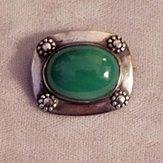 SALE Green Stone Sterling Arts and Crafts Pin
