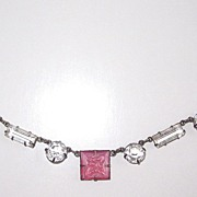 SALE Art Deco Crystal Open Back Necklace