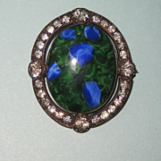 REDUCED Victorian Art Glass Paste Brooch