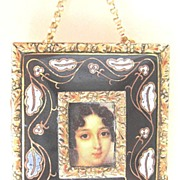 REDUCED Pin Made From Vintage Findings a Portrait