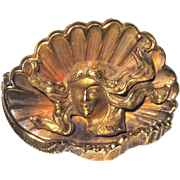 REDUCED Art Nouveau Gold Plated Lady In Sea Shell Brooch