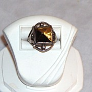 Arts and Crafts Tiger Eye Sterling Ring
