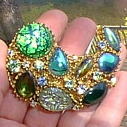 Blue Green Irridescent Pin and Earrings