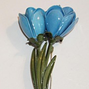 SALE Large Enamel Blue Flower Pin