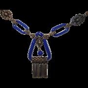 SALE Art Deco Czech Lapis Glass Necklace