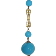 REDUCED Flapper Turquoise Glass Beads Sautoir