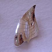Vintage Sterling Beau Leaf Brooch