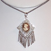 REDUCED Beautiful Sterling Antique Cameo Necklace