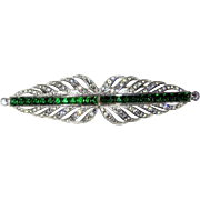 SALE Best Art Deco Brooch Green Rhinestones