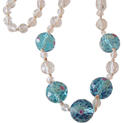 REDUCED Best Vintage Faceted Crystal Aqua with Roses and White Beads