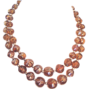 REDUCED Best Vintage Glass Beads Necklace Golden