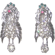 REDUCED Pair Vintage Sterling Peacock Bird Fur or Dress Clips