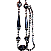 REDUCED It's All About Victorian Black Painted Jet Glass Long Beads