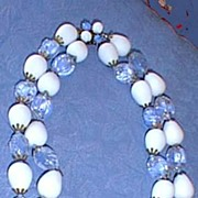 SOLD Austrian Necklace Blue and White Glass Beads