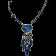 SALE Art Deco Blue Peking Glass Pendant Necklace