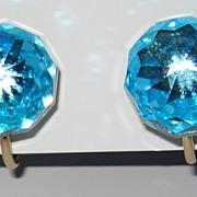 Vintage Crystal Aqua Clip Earrings