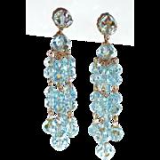 SALE Best Vintage Crystal Blue Long Beaded Earrings Clip