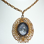 SALE Victorian Blue Glass Cameo Pendant